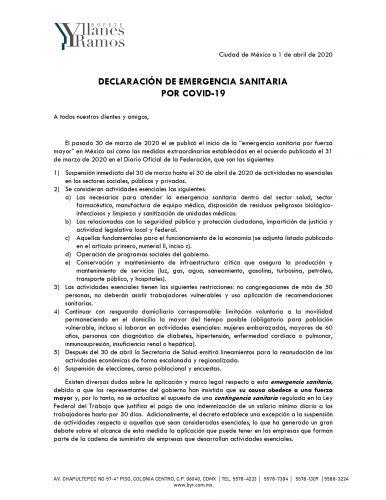 declaracion de emergencia sanitaria por covid 1