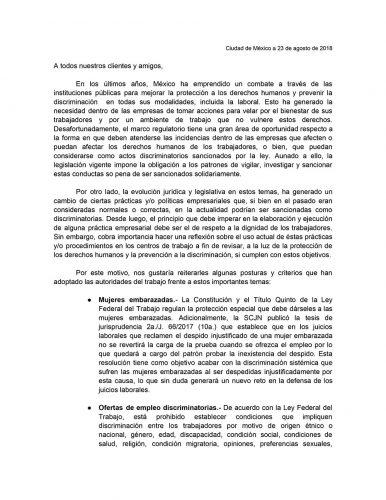 discriminacion laboral nota informativa